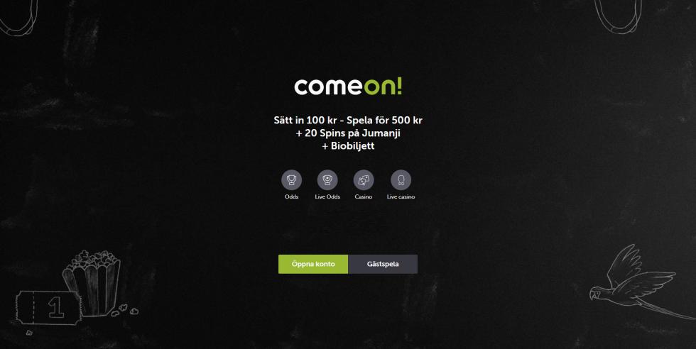 Comeon casino bonus - sätt in 100 kr spela för 500 kr + 20 Spins på Jumanji +Biobiljett